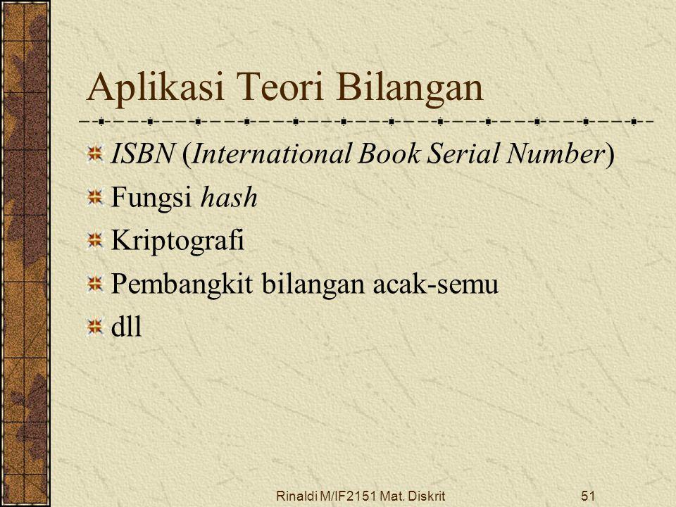 Rinaldi M/IF2151 Mat. Diskrit51 Aplikasi Teori Bilangan ISBN (International Book Serial Number) Fungsi hash Kriptografi Pembangkit bilangan acak-semu