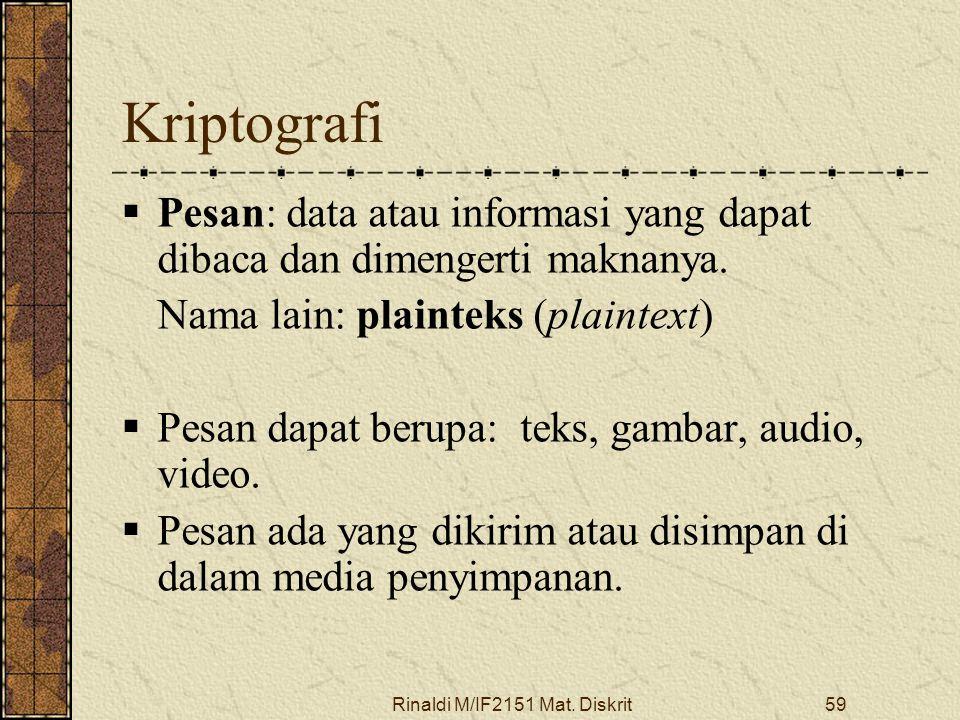 Rinaldi M/IF2151 Mat. Diskrit59 Kriptografi  Pesan: data atau informasi yang dapat dibaca dan dimengerti maknanya. Nama lain: plainteks (plaintext) 