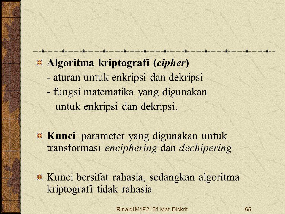Rinaldi M/IF2151 Mat. Diskrit65 Algoritma kriptografi (cipher) - aturan untuk enkripsi dan dekripsi - fungsi matematika yang digunakan untuk enkripsi