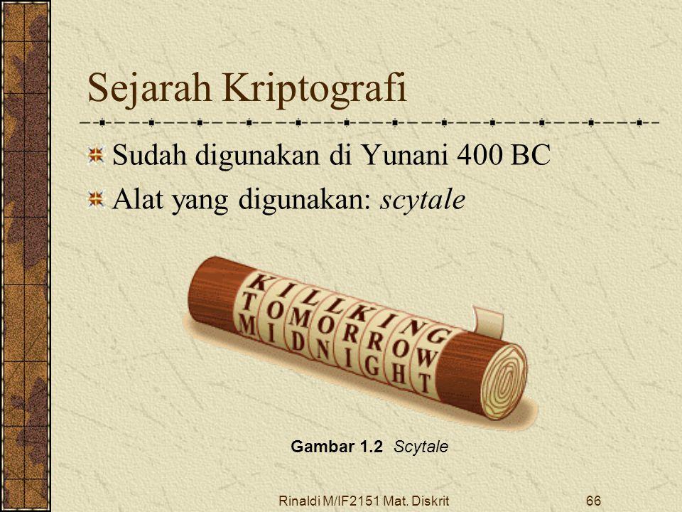 Rinaldi M/IF2151 Mat. Diskrit66 Sejarah Kriptografi Sudah digunakan di Yunani 400 BC Alat yang digunakan: scytale Gambar 1.2 Scytale
