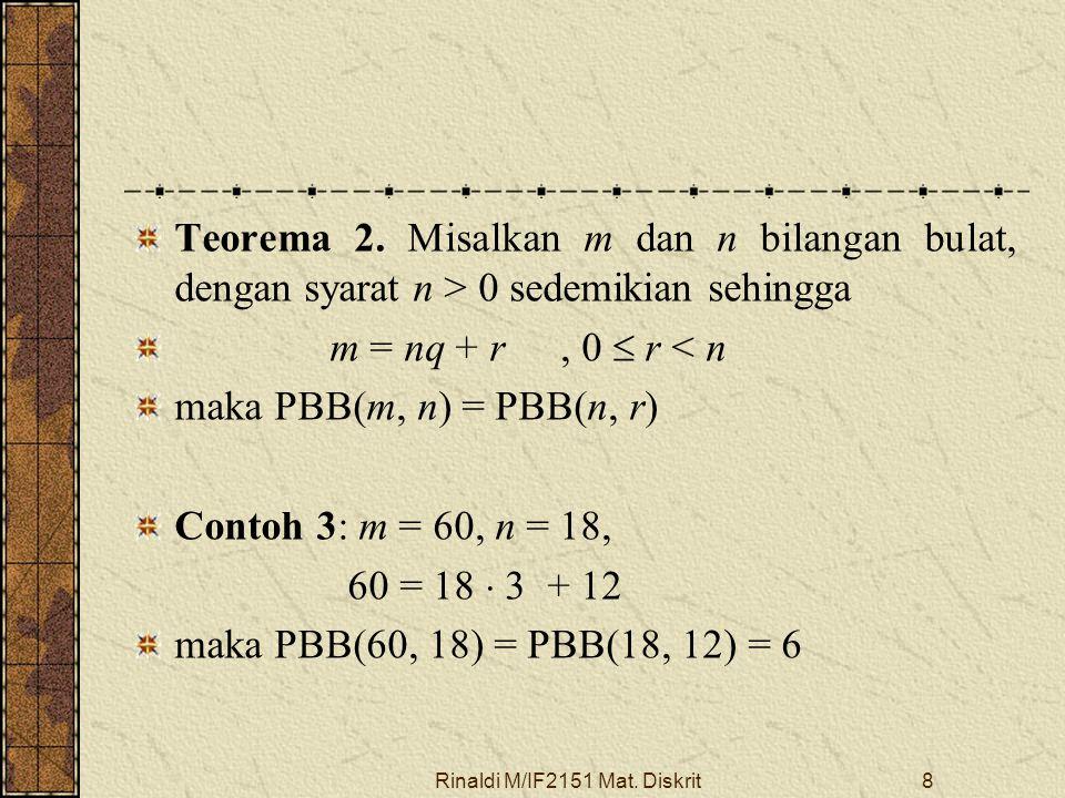 Rinaldi M/IF2151 Mat. Diskrit8 Teorema 2. Misalkan m dan n bilangan bulat, dengan syarat n > 0 sedemikian sehingga m = nq + r, 0  r < n maka PBB(m, n