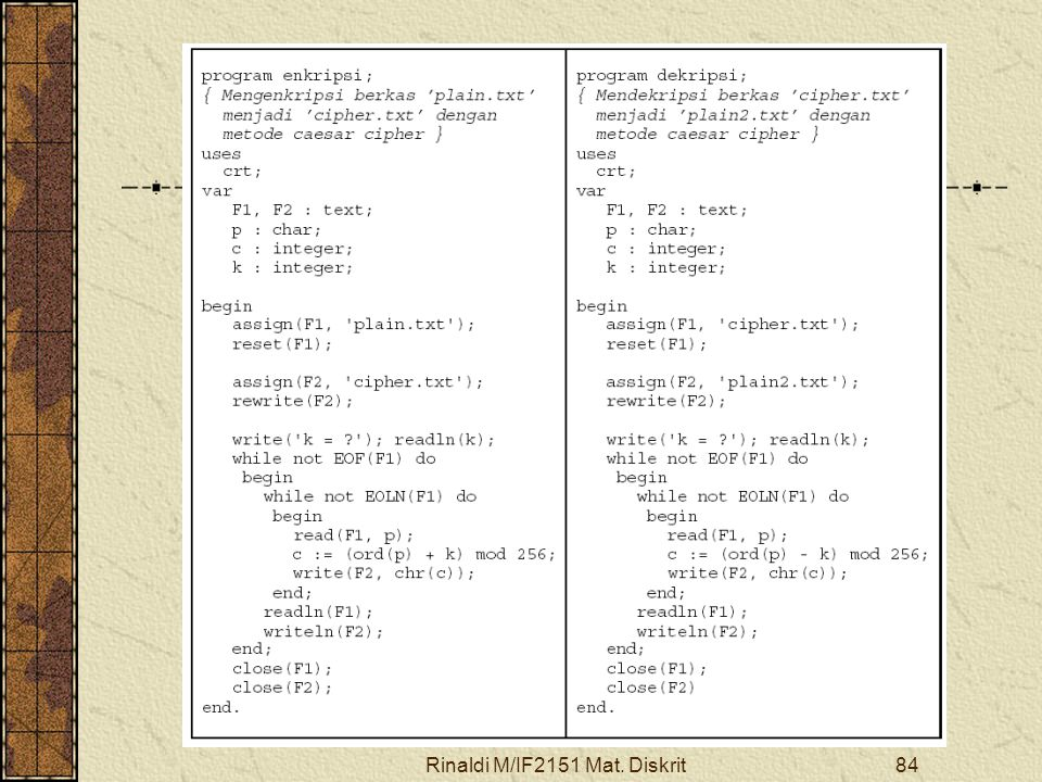 Rinaldi M/IF2151 Mat. Diskrit84