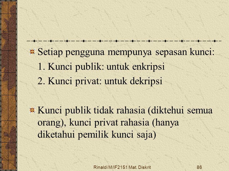 Rinaldi M/IF2151 Mat. Diskrit86 Setiap pengguna mempunya sepasan kunci: 1. Kunci publik: untuk enkripsi 2. Kunci privat: untuk dekripsi Kunci publik t