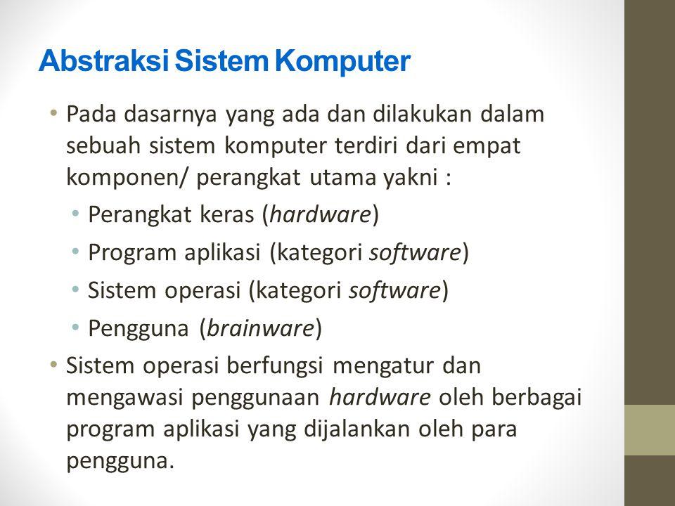 Abstraksi Sistem Komputer Pada dasarnya yang ada dan dilakukan dalam sebuah sistem komputer terdiri dari empat komponen/ perangkat utama yakni : Peran