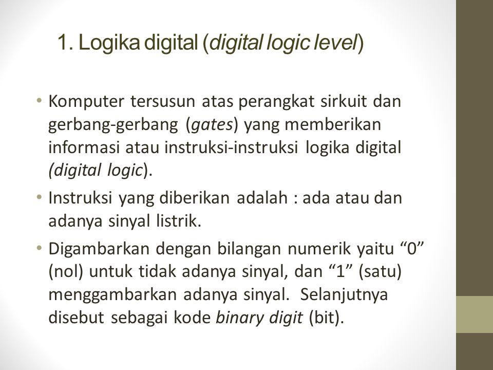 1. Logika digital (digital logic level) Komputer tersusun atas perangkat sirkuit dan gerbang-gerbang (gates) yang memberikan informasi atau instruksi-