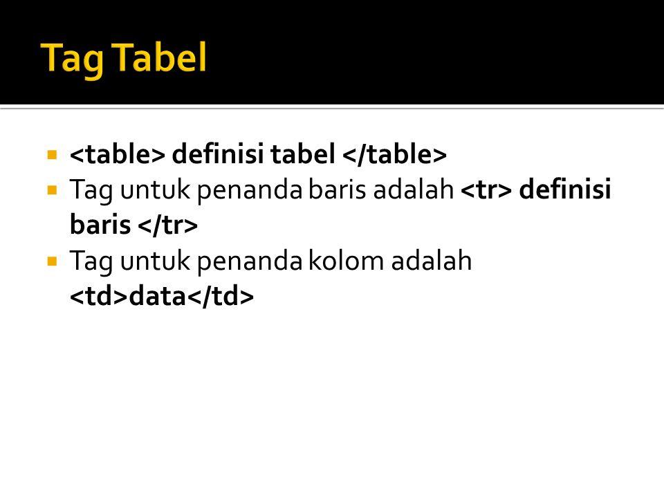  definisi tabel  Tag untuk penanda baris adalah definisi baris  Tag untuk penanda kolom adalah data