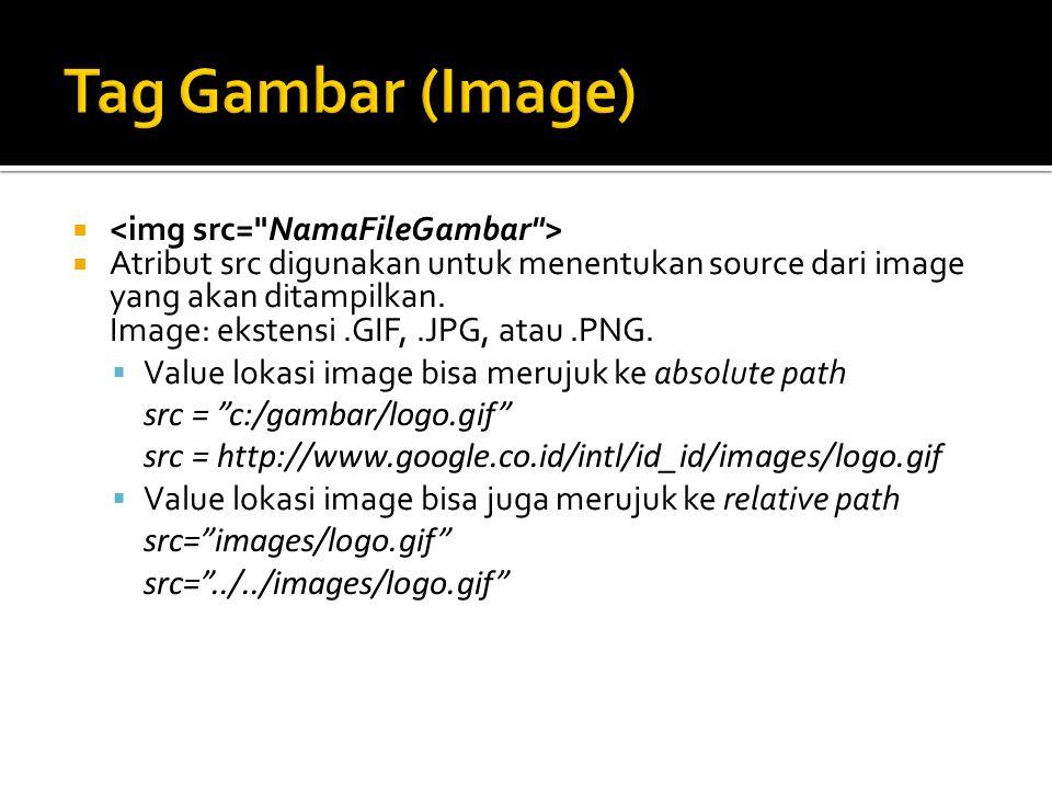   Atribut src digunakan untuk menentukan source dari image yang akan ditampilkan. Image: ekstensi.GIF,.JPG, atau.PNG.  Value lokasi image bisa meru
