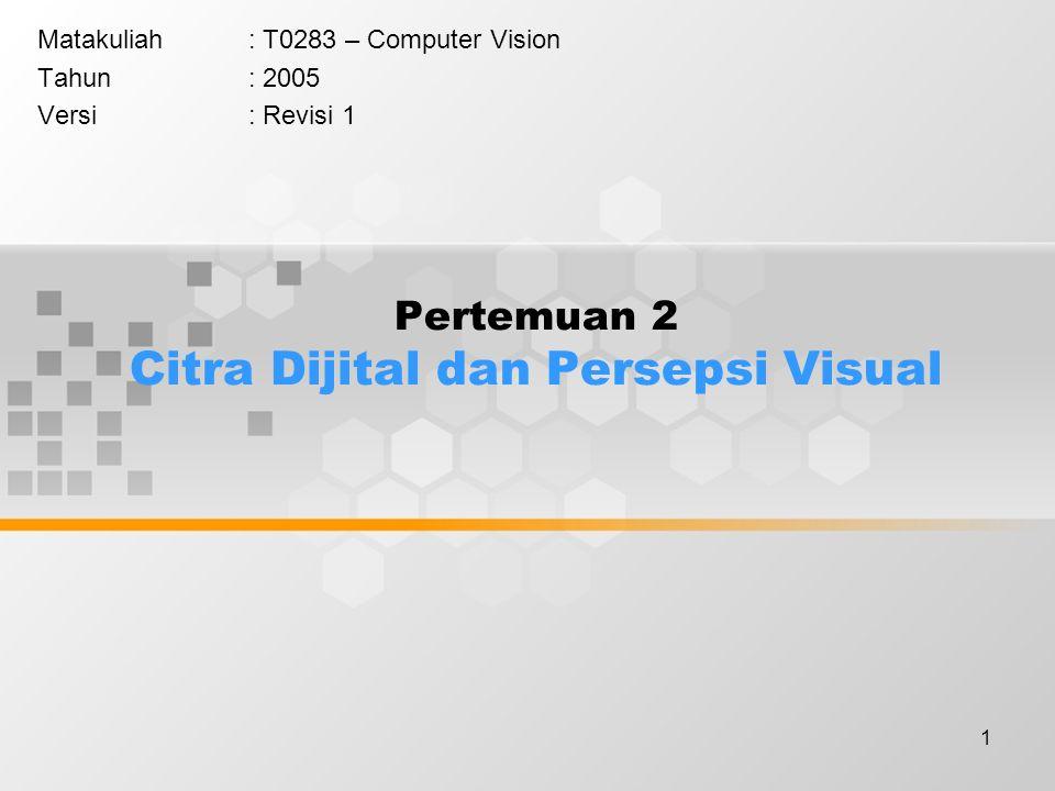 1 Pertemuan 2 Citra Dijital dan Persepsi Visual Matakuliah: T0283 – Computer Vision Tahun: 2005 Versi: Revisi 1