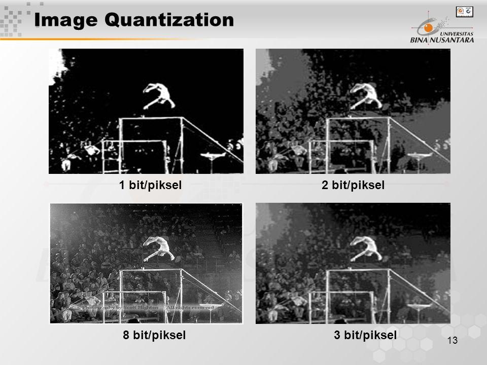 13 1 bit/piksel 3 bit/piksel 2 bit/piksel 8 bit/piksel Image Quantization