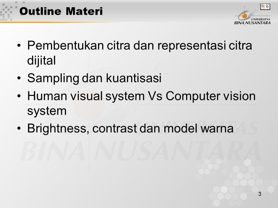3 Outline Materi Pembentukan citra dan representasi citra dijital Sampling dan kuantisasi Human visual system Vs Computer vision system Brightness, contrast dan model warna