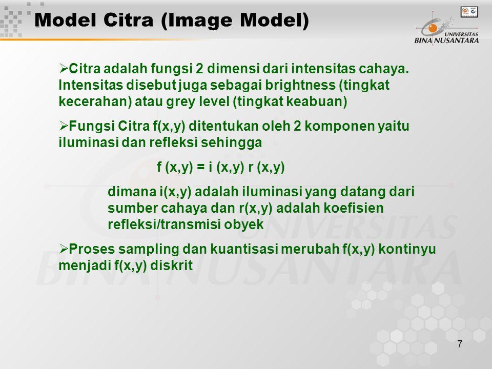 7  Citra adalah fungsi 2 dimensi dari intensitas cahaya.