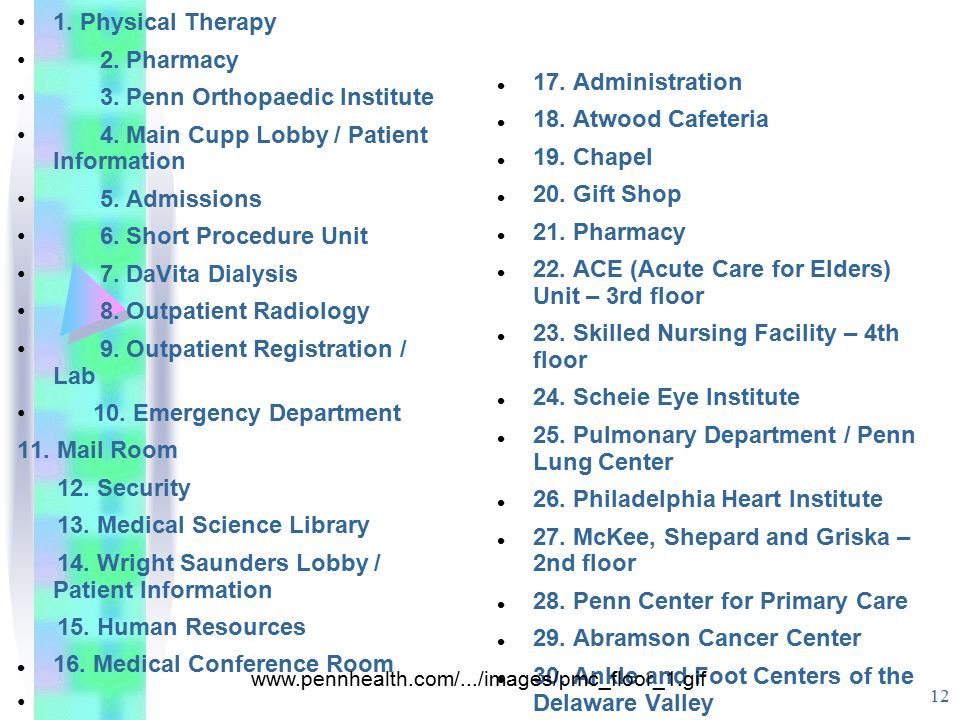 12 1. Physical Therapy 2. Pharmacy 3. Penn Orthopaedic Institute 4. Main Cupp Lobby / Patient Information 5. Admissions 6. Short Procedure Unit 7. DaV