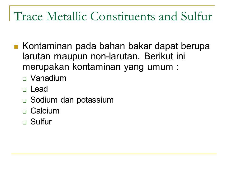Trace Metallic Constituents and Sulfur Kontaminan pada bahan bakar dapat berupa larutan maupun non-larutan.