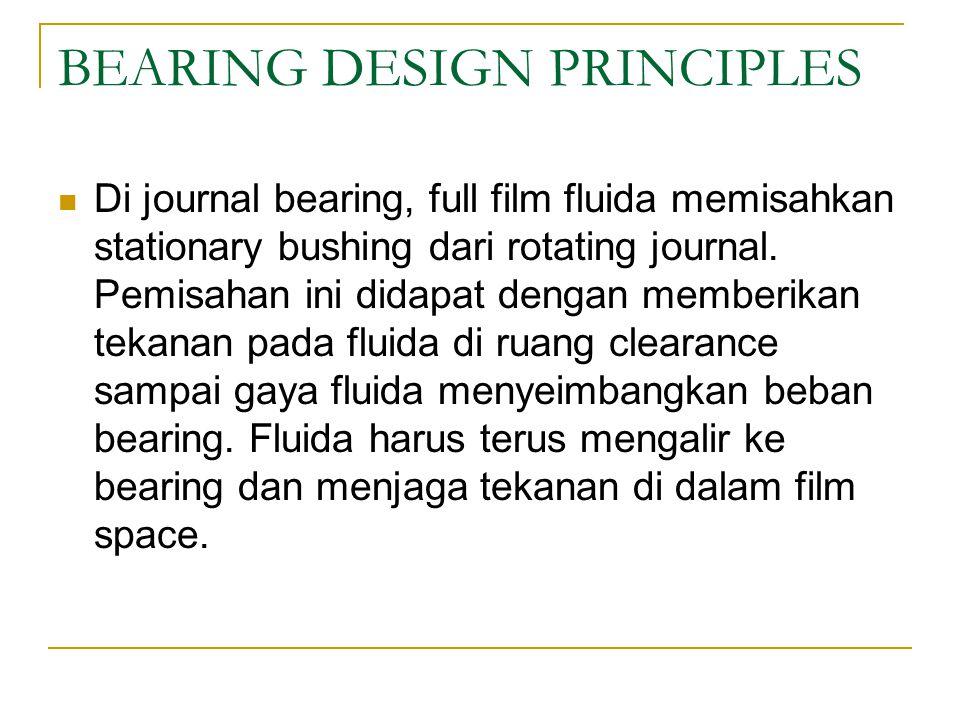 BEARING DESIGN PRINCIPLES Di journal bearing, full film fluida memisahkan stationary bushing dari rotating journal.