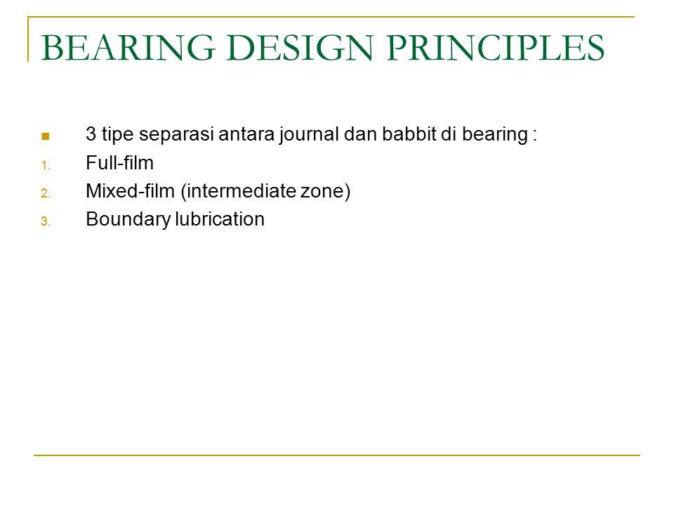 BEARING DESIGN PRINCIPLES 3 tipe separasi antara journal dan babbit di bearing : 1.