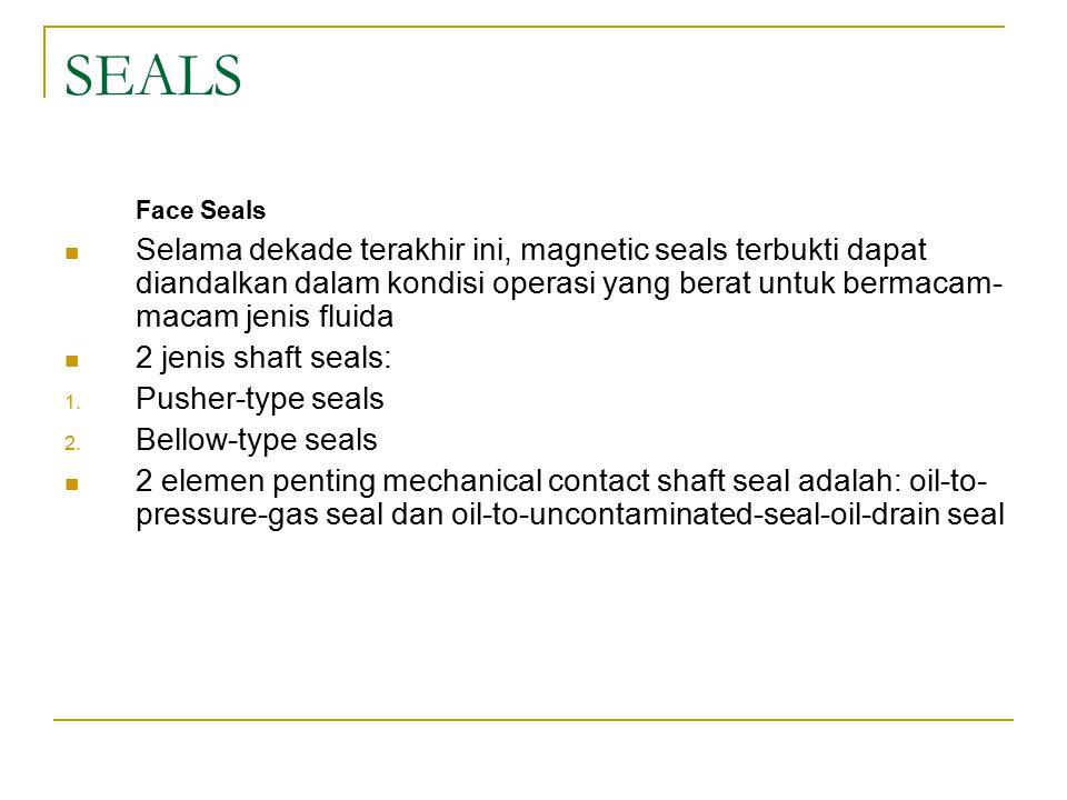 SEALS Face Seals Selama dekade terakhir ini, magnetic seals terbukti dapat diandalkan dalam kondisi operasi yang berat untuk bermacam- macam jenis fluida 2 jenis shaft seals: 1.