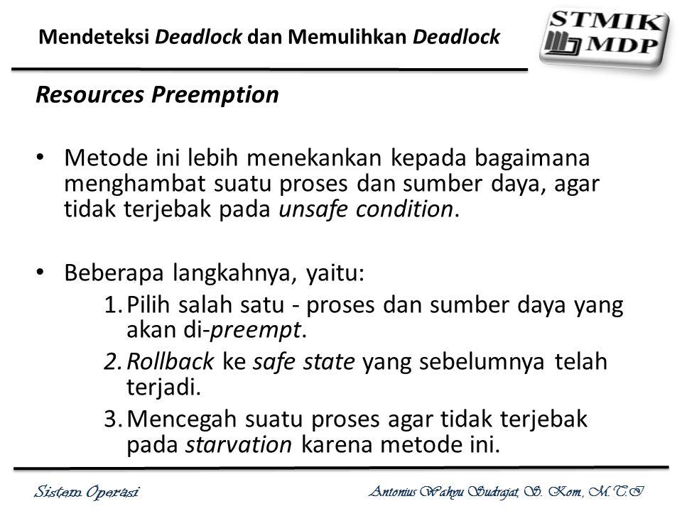 Sistem Operasi Antonius Wahyu Sudrajat, S. Kom., M.T.I Mendeteksi Deadlock dan Memulihkan Deadlock Resources Preemption Metode ini lebih menekankan ke