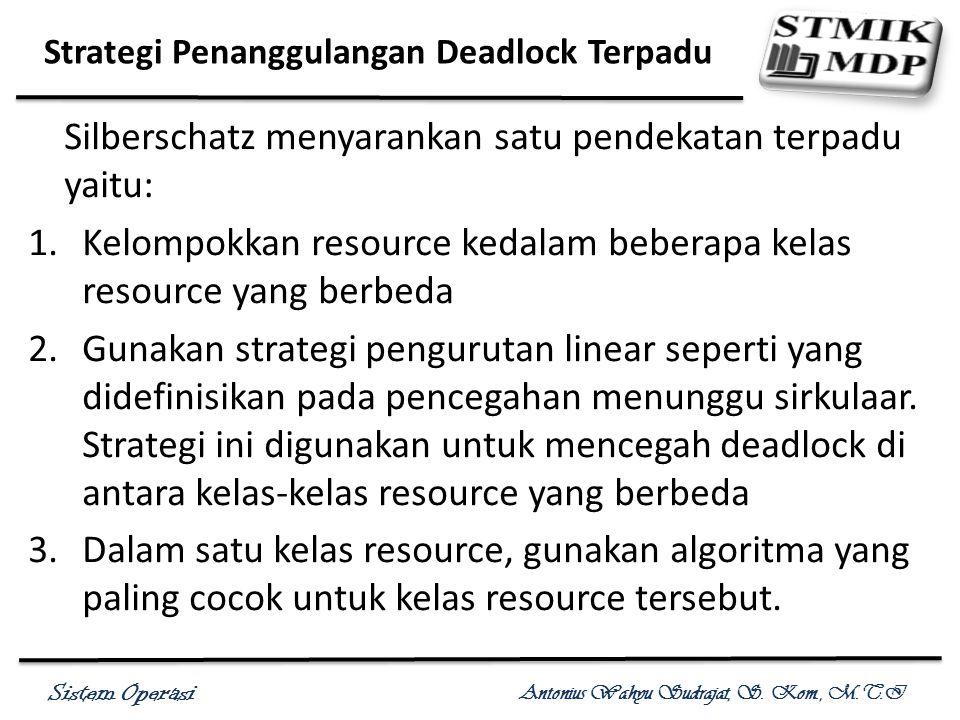 Sistem Operasi Antonius Wahyu Sudrajat, S. Kom., M.T.I Strategi Penanggulangan Deadlock Terpadu Silberschatz menyarankan satu pendekatan terpadu yaitu