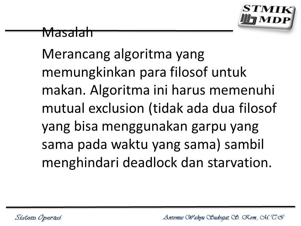 Sistem Operasi Antonius Wahyu Sudrajat, S. Kom., M.T.I Masalah Merancang algoritma yang memungkinkan para filosof untuk makan. Algoritma ini harus mem