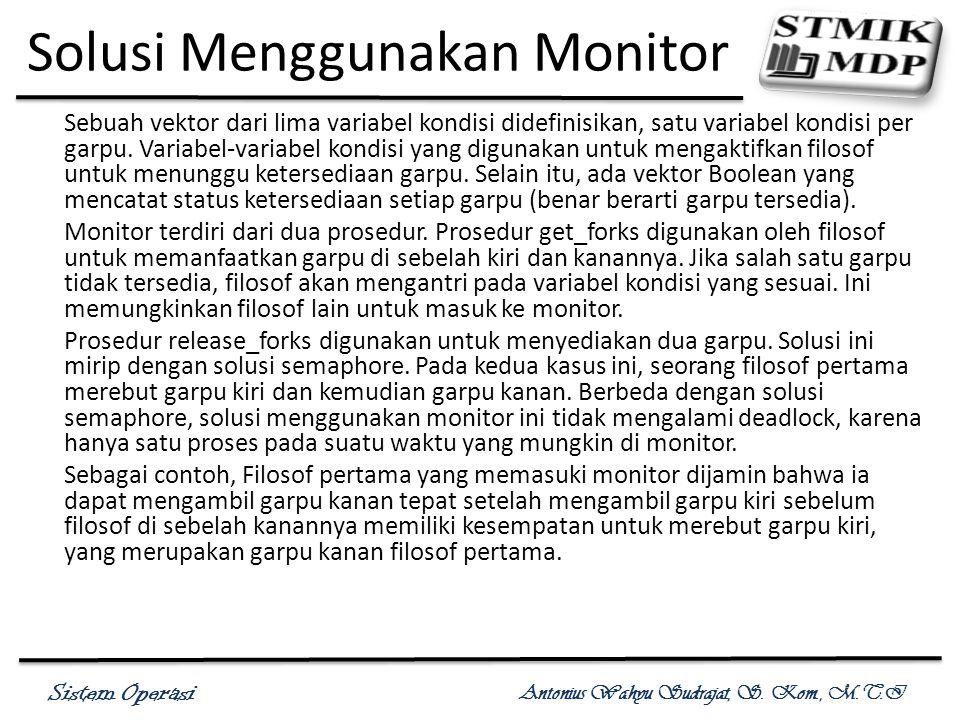 Sistem Operasi Antonius Wahyu Sudrajat, S. Kom., M.T.I Solusi Menggunakan Monitor Sebuah vektor dari lima variabel kondisi didefinisikan, satu variabe