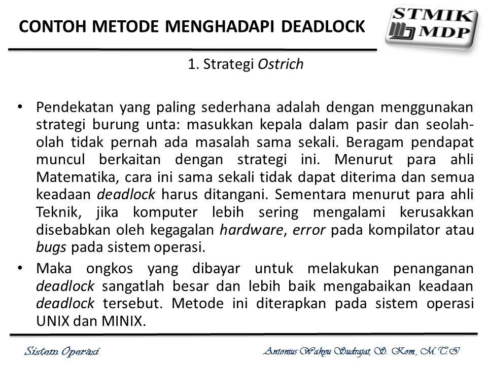 Sistem Operasi Antonius Wahyu Sudrajat, S. Kom., M.T.I CONTOH METODE MENGHADAPI DEADLOCK 1. Strategi Ostrich Pendekatan yang paling sederhana adalah d