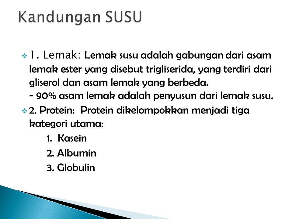  1. Lemak: Lemak susu adalah gabungan dari asam lemak ester yang disebut trigliserida, yang terdiri dari gliserol dan asam lemak yang berbeda. - 90%