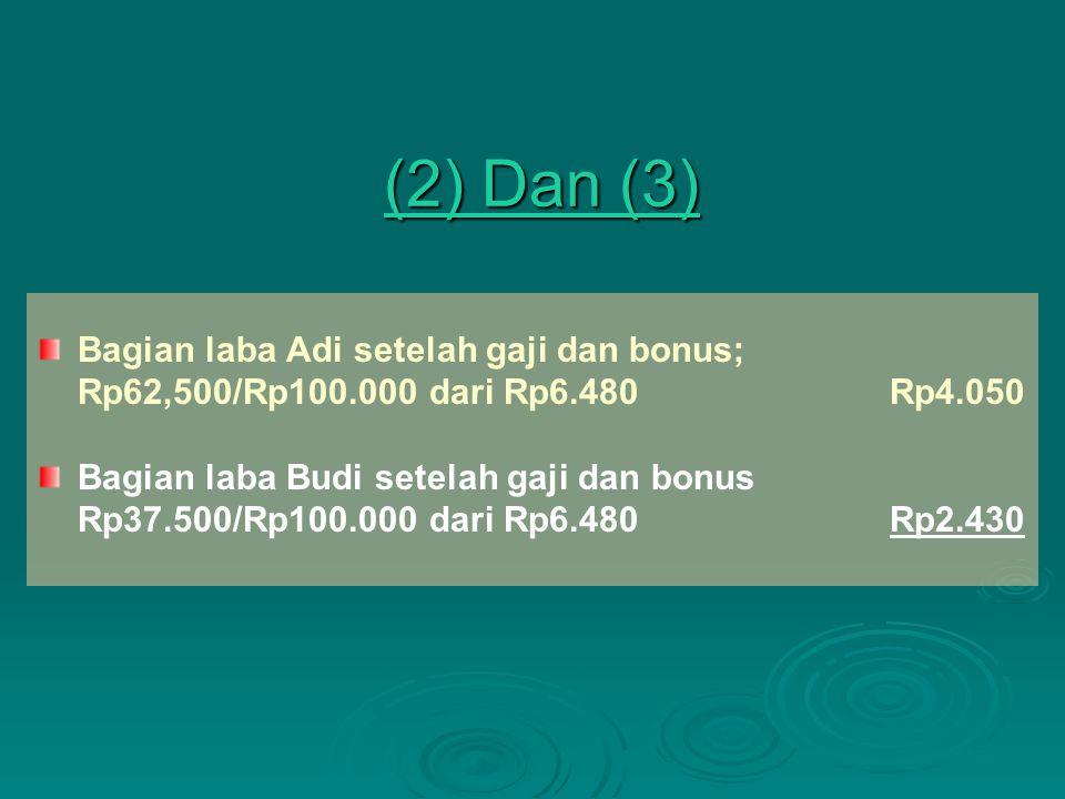 (2) Dan (3) (2) Dan (3) Bagian laba Adi setelah gaji dan bonus; Rp62,500/Rp100.000 dari Rp6.480Rp4.050 Bagian laba Budi setelah gaji dan bonus Rp37.50