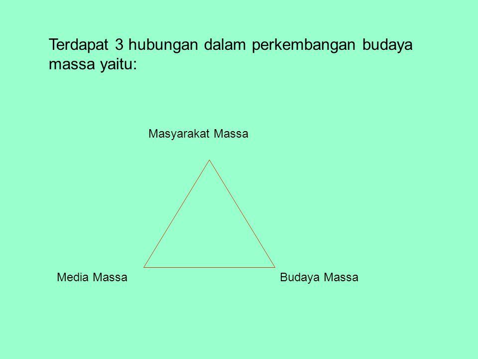 Terdapat 3 hubungan dalam perkembangan budaya massa yaitu: Masyarakat Massa Media MassaBudaya Massa