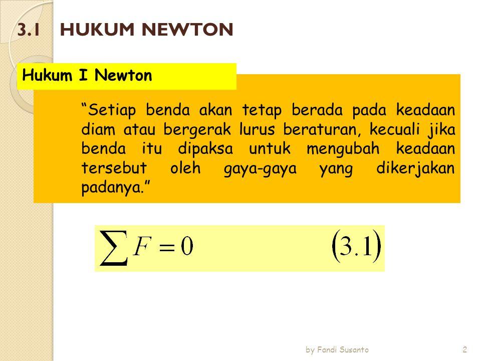 Percepatan yang dihasilkan oleh gaya total pada sebuah benda, berbanding lurus dengan besar gaya total tersebut pada arah yang sama, dan berbanding terbalik dengan massa dari benda. Hukum II Newton 3 by Fandi Susanto