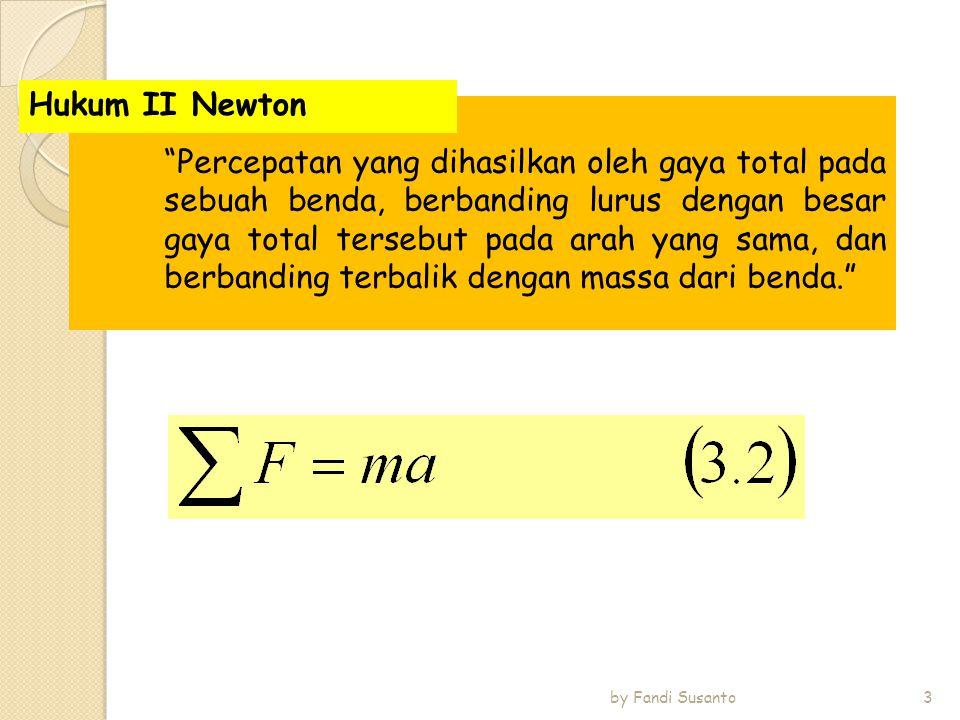 Jika sebuah benda memberikan gaya pada benda lain, benda itu akan mendapat gaya dari benda lain itu, dengan besar gaya yang sama dan arah yang berlawanan dari gaya pertama. Hukum III Newton 4 by Fandi Susanto