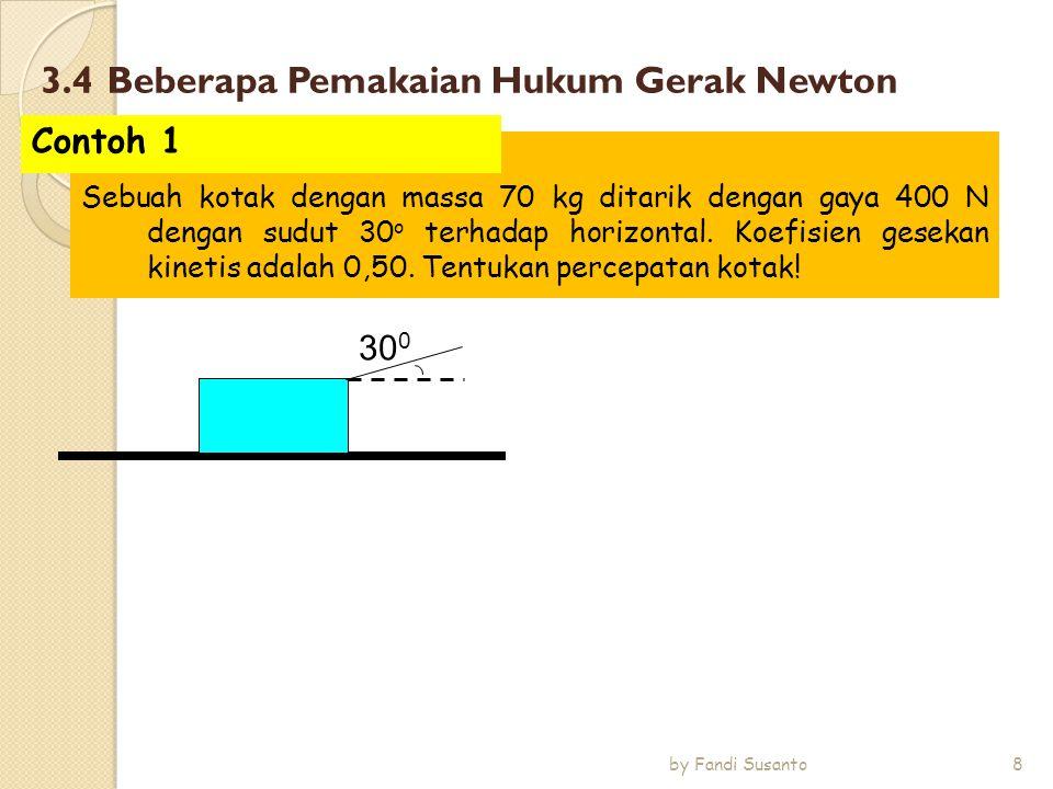 3.4 Beberapa Pemakaian Hukum Gerak Newton 30 0 Sebuah kotak dengan massa 70 kg ditarik dengan gaya 400 N dengan sudut 30 o terhadap horizontal. Koefis