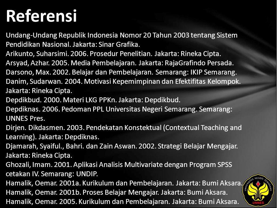 Referensi Undang-Undang Republik Indonesia Nomor 20 Tahun 2003 tentang Sistem Pendidikan Nasional. Jakarta: Sinar Grafika. Arikunto, Suharsimi. 2006.