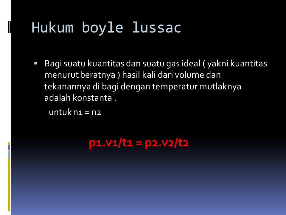  HUKUM GAY LUSSAC  dalam suatu rx kimia gas yang di ukur pada P dan T yang sama volumenya berbanding lurus dengan koefisien reaksi atau mol dan berbanding lurus sebagai bilangan bulat & sederhana.