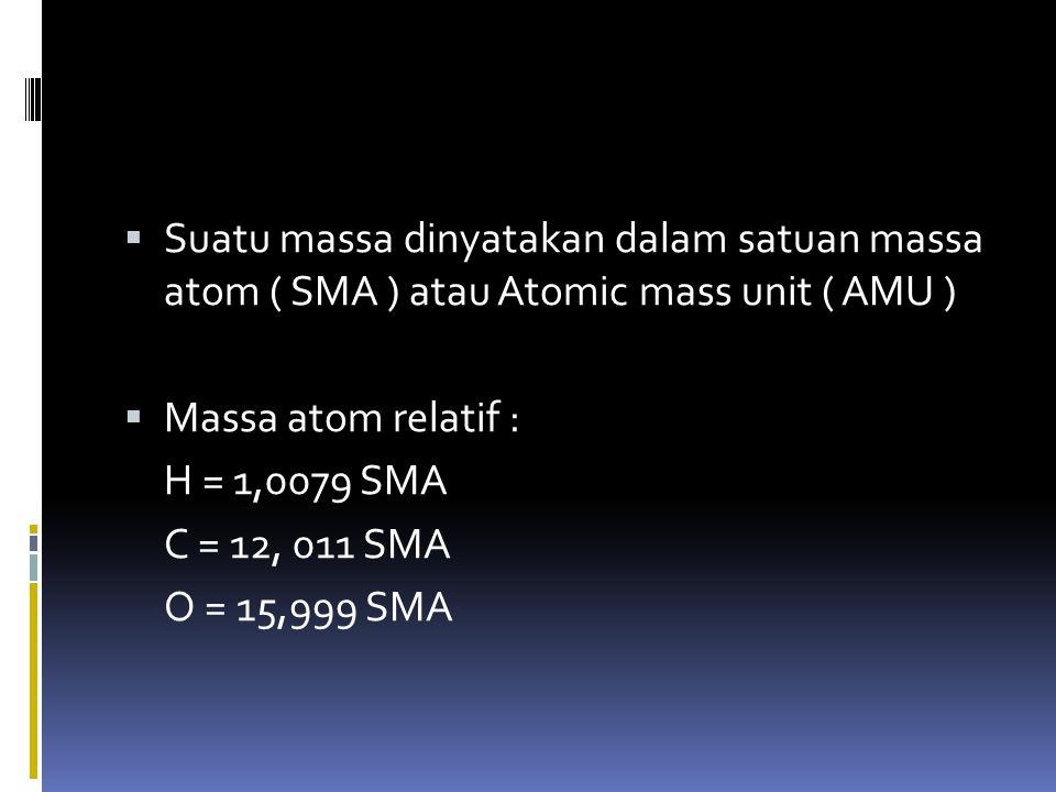 Massa atom relatif  Def lama : massa satu atom unsur massa 1 atom hidrogen Def baru : massa 1 atom relatif 1/12 massa atom c-12