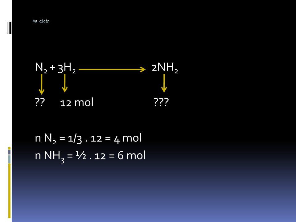 Aa didin DALAM PERSAMAAN REAKSI Koefisien = :mol = :volume N 2(g) + 3H 2(g) 2NH 3 (g) V0lume: 1 : 3 : 2 VH 2 = 3 / 1.