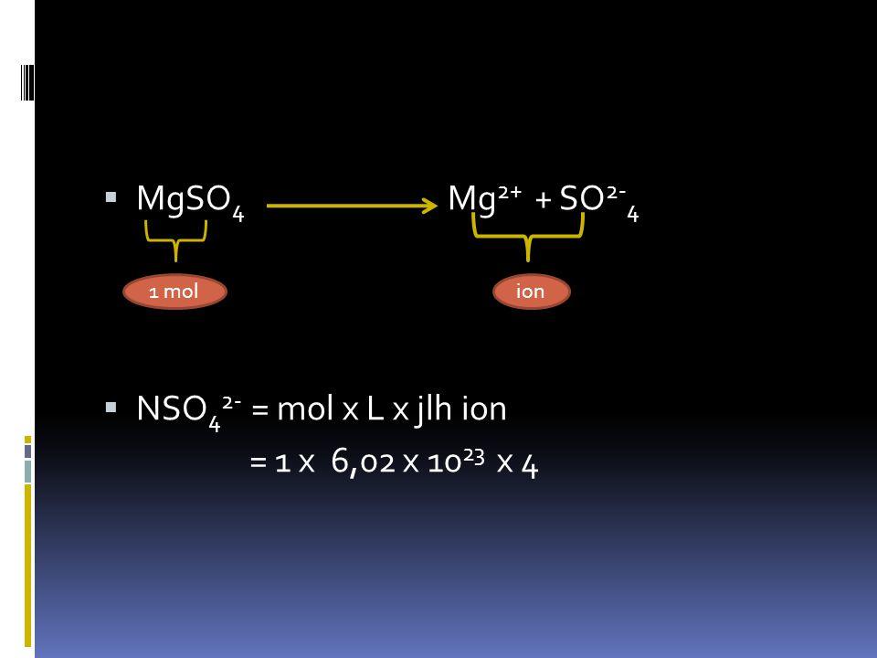 Ex:  Ex: H 2 O  molekul  N molekul = mol.L = 1 x 6,02 x 10 23 Atom  N atom O = mol.