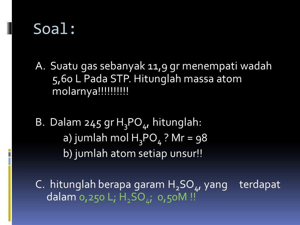 Ex:  =  berapa jumlah mol dari 2,4 gr Mg ?.
