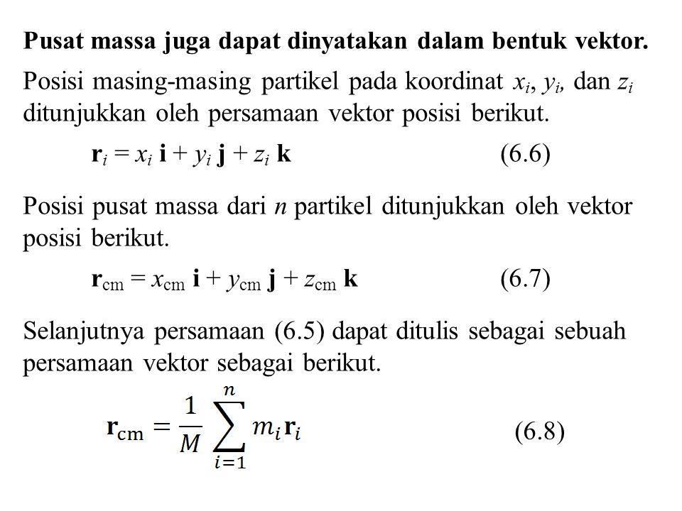 Pusat massa juga dapat dinyatakan dalam bentuk vektor. Posisi masing-masing partikel pada koordinat x i, y i, dan z i ditunjukkan oleh persamaan vekto