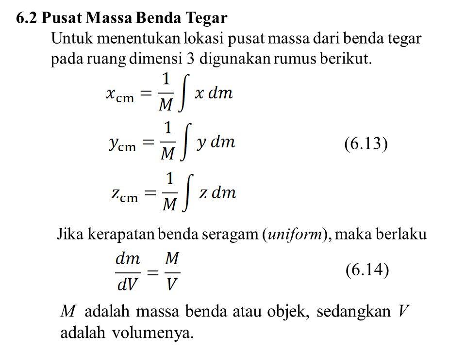 6.2 Pusat Massa Benda Tegar Untuk menentukan lokasi pusat massa dari benda tegar pada ruang dimensi 3 digunakan rumus berikut. (6.13) Jika kerapatan b