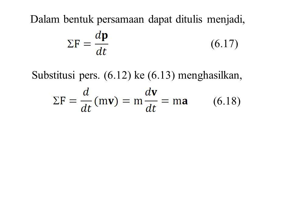 Dalam bentuk persamaan dapat ditulis menjadi, Substitusi pers. (6.12) ke (6.13) menghasilkan, (6.17) (6.18)