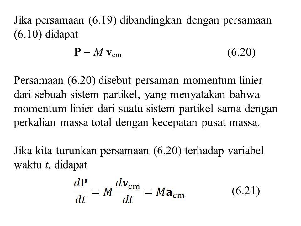 Jika persamaan (6.19) dibandingkan dengan persamaan (6.10) didapat P = M v cm (6.20) Persamaan (6.20) disebut persaman momentum linier dari sebuah sistem partikel, yang menyatakan bahwa momentum linier dari suatu sistem partikel sama dengan perkalian massa total dengan kecepatan pusat massa.