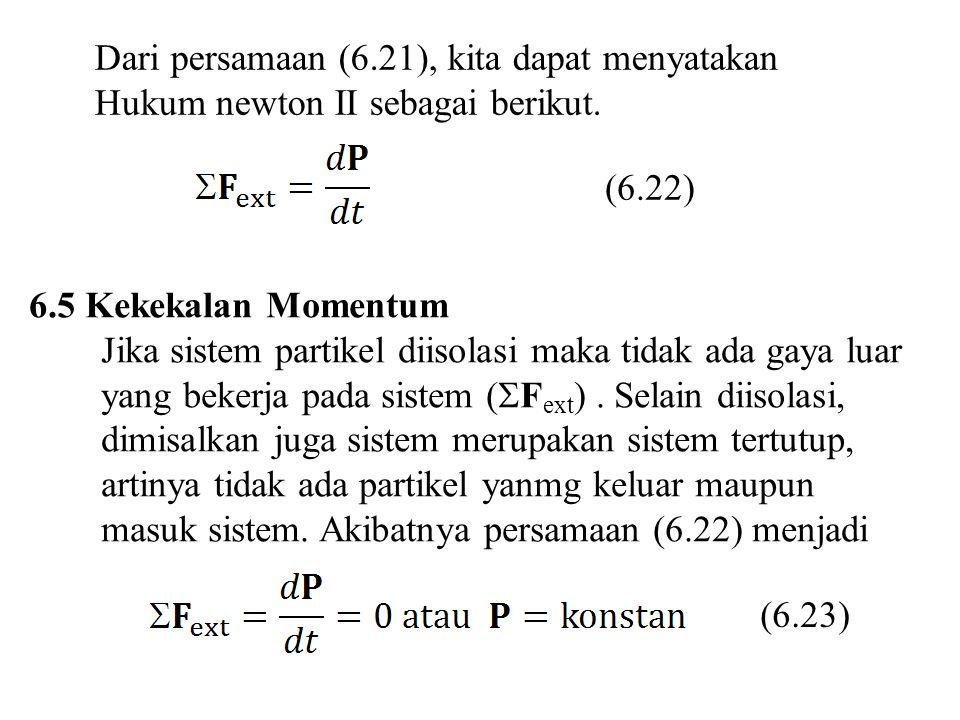Dari persamaan (6.21), kita dapat menyatakan Hukum newton II sebagai berikut. 6.5 Kekekalan Momentum Jika sistem partikel diisolasi maka tidak ada gay