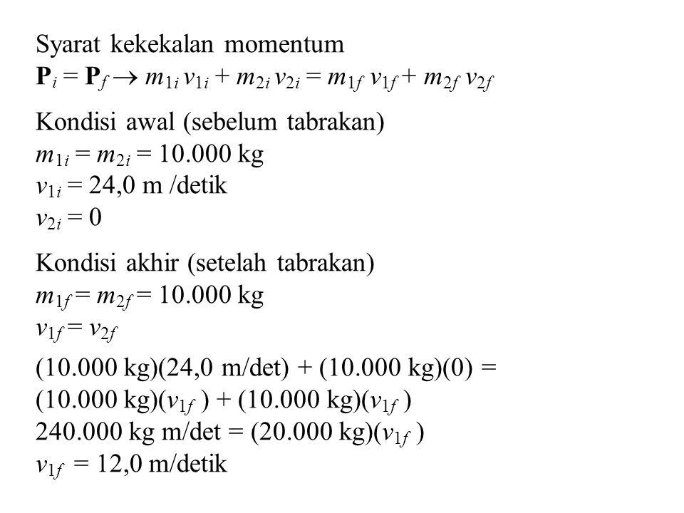 Syarat kekekalan momentum P i = P f  m 1i v 1i + m 2i v 2i = m 1f v 1f + m 2f v 2f Kondisi awal (sebelum tabrakan) m 1i = m 2i = 10.000 kg v 1i = 24,