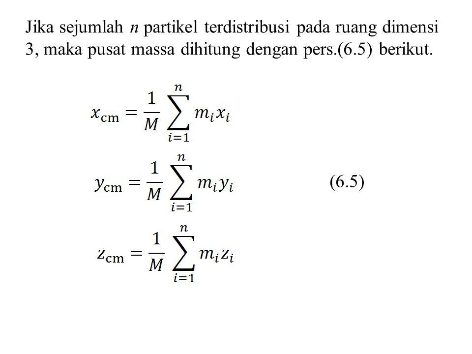 Jika sejumlah n partikel terdistribusi pada ruang dimensi 3, maka pusat massa dihitung dengan pers.(6.5) berikut. (6.5)