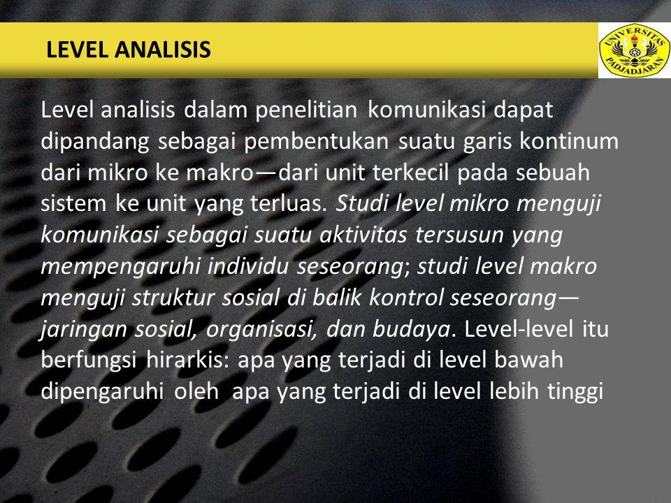 LOGO LEVEL ANALISIS Level analisis dalam penelitian komunikasi dapat dipandang sebagai pembentukan suatu garis kontinum dari mikro ke makro—dari unit terkecil pada sebuah sistem ke unit yang terluas.