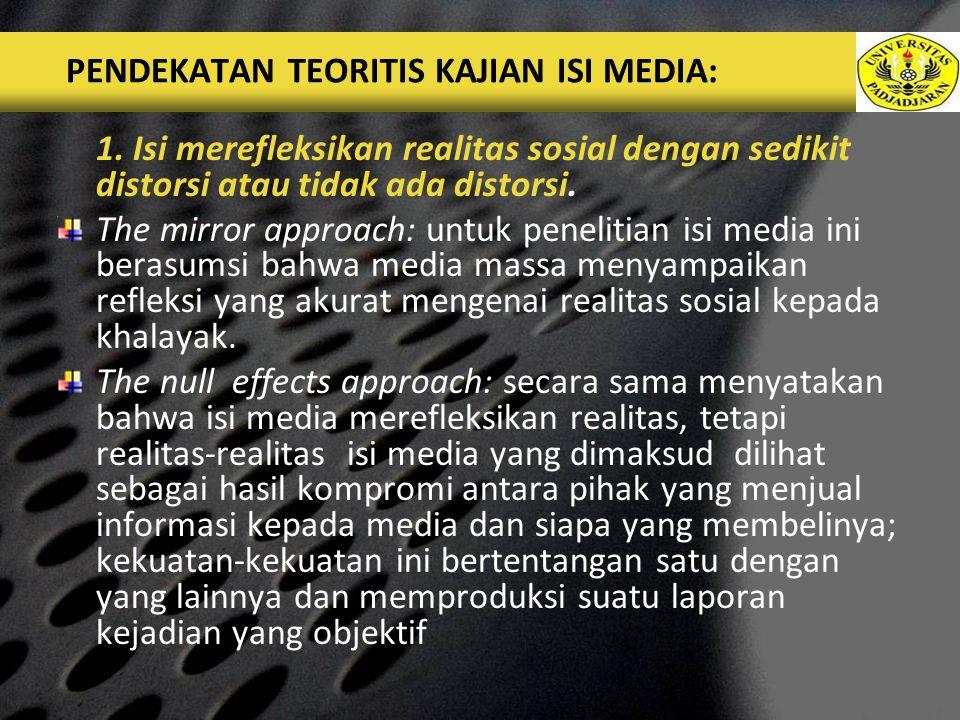 LOGO PENDEKATAN TEORITIS KAJIAN ISI MEDIA: 1.