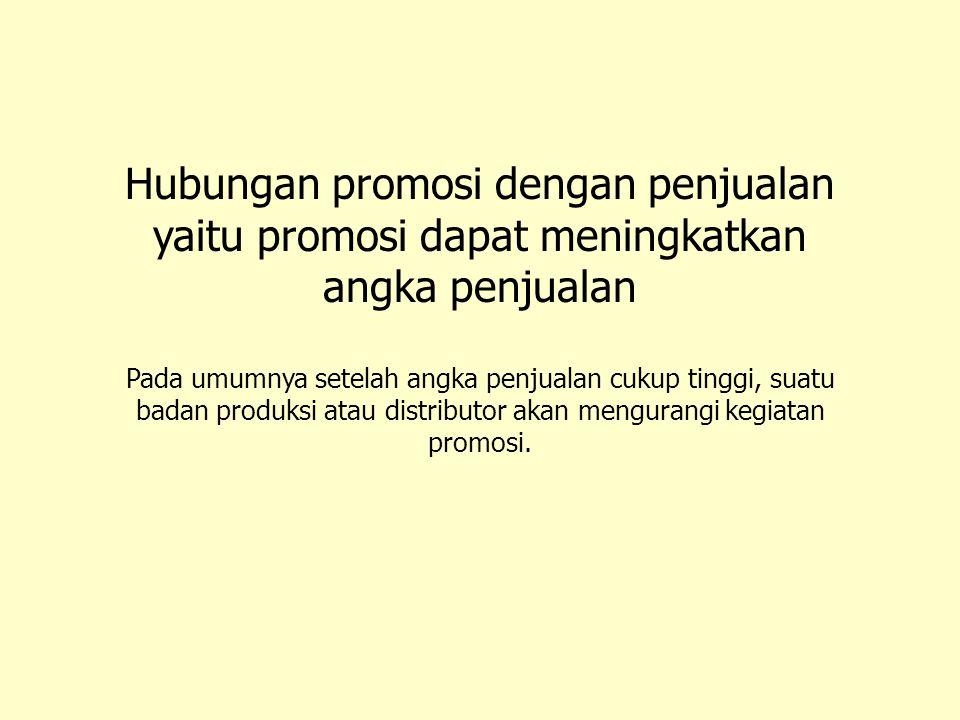 Hubungan promosi dengan penjualan yaitu promosi dapat meningkatkan angka penjualan Pada umumnya setelah angka penjualan cukup tinggi, suatu badan prod