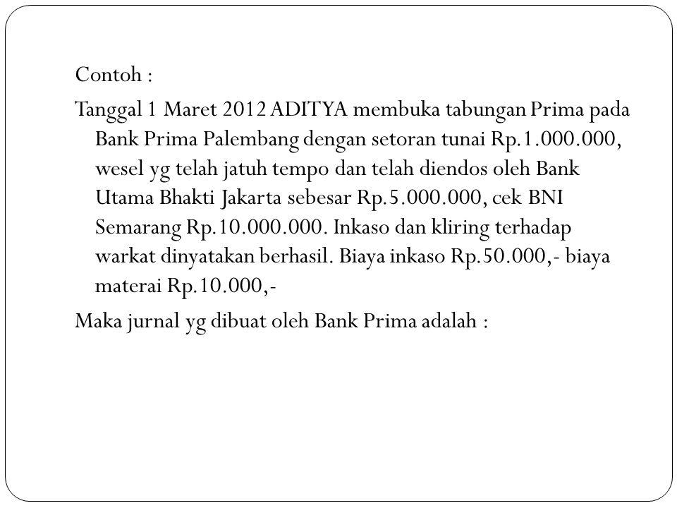 Contoh : Tanggal 1 Maret 2012 ADITYA membuka tabungan Prima pada Bank Prima Palembang dengan setoran tunai Rp.1.000.000, wesel yg telah jatuh tempo da