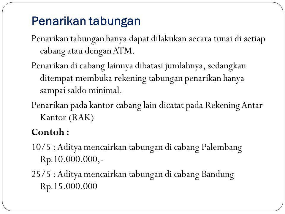 TransaksiTglKeteranganDebetKredit Di cabang Palembang 10/5Tabungan Prima10.000.000 Kas10.000.000 25/5Tabungan prima15.000.000 RAK.