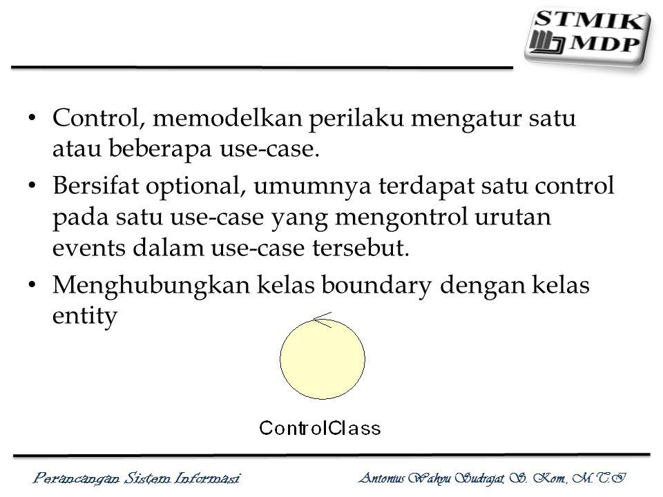 Kelas Analisis: Control Control, memodelkan perilaku mengatur satu atau beberapa use-case.